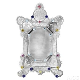 Hand engraved and antiqued mirror in Venetian style