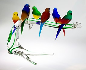 Six little-parrot on branch