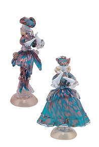 Venetian figures in aquamarine color and aventurine