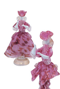 Venetian figures in pink color and aventurine