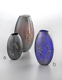 Black vase with coloured spots