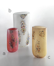 Red vase with coloured spots