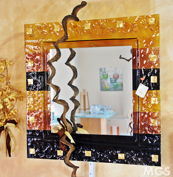 Modern Mirror with amber bands