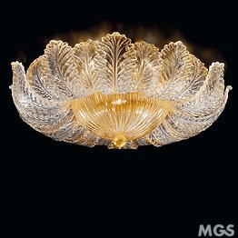 Crystal with 24k gold ceiling lamp