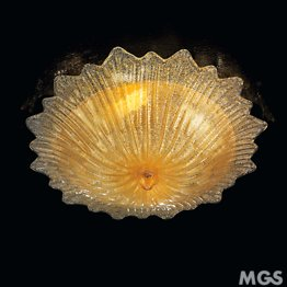 Ceiling lamp in Murano crystal gold decorated with three lights