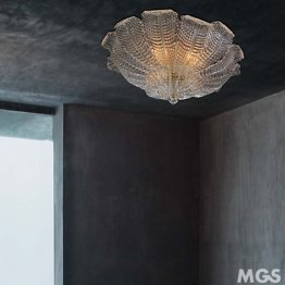 Ceiling lamp in crystal with leaves