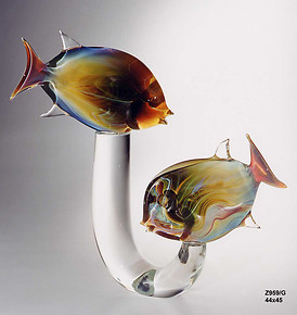 Fish in chalcedony glass