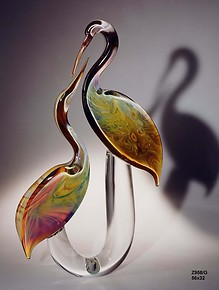 Stylized pair herons in chalcedony glass